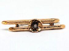 BIEDERMEIER BROSCHE AUS 14k - 585 GOLD MIT DIAMANT - ROSENDIAMANT IN MUSCHEL