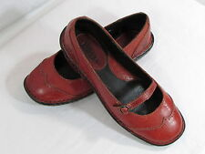 Born Shoes 7 Euro 38 Red Leather Upper Mary Janes Buckle Shoes