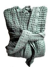 "Waffelpique Sauna-Robe de chambre Peignoir bleu XS/S ""Stonewashed"" halbleinen"