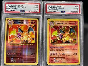 PSA 9 Charizard 11/108 Evolutions Set Holo & Reverse Holo Pokemon Card