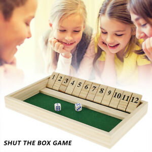 Wooden 2 Players Shut The Box Traditional Pub Dice Family Childrens Board Game