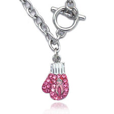 Pink Ribbon Fight Against Breast Cancer Boxing Glove Charm Link Toggle  Bracelet