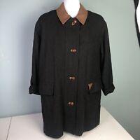 ADMONT German Bavarian Black Wool Long Coat Trachten Country EU 34