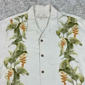 Tommy Bahama Shirt Mens XL Silk Hawaiian Tiki Camp Button Front S/S *STAINED*