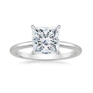 Brilliant Princess Cut 1.10 Carat Diamond Engagement Ring 950 Platinum Size L M