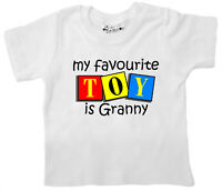 "SALE ITEM White T-Shirt 2/3 yrs ""My favourite toy is Granny"" End of Line item."