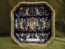 Beau plateau carré faience gien renaissance bleu (1971) 27,5cm