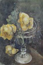 MAACK o. MAACH (s.Foto) Jugendstil-Aquarell: GELBE ROSEN U SCHLEIERKRAUT IM GLAS