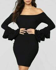 Off Shoulder Ruffle Sleeves Casual Sexy Basic Black Sweater Tunic Dress Small S
