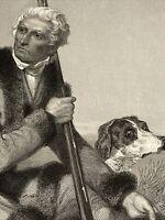1861 Frontiersman Daniel Boone w/ Spaniel Dog Gun Facsimile Signature Old Print