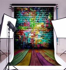 Colorful Graffiti Brick Wall Wooden Floor Background 5x7ft Vinyl Photo Backdrops