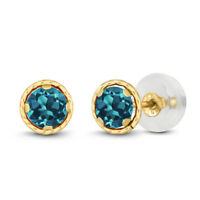 0.60 Ct Round 4mm London Blue Topaz 14K Yellow Gold Stud Earrings