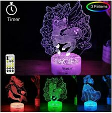 Night Light Unicorn Princess Mermaid Color Changing Remote Timer Gift Christmas