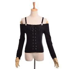 Gothic Punk Lace Up Black Long Sleeve Shirt Off Shoulder Suspender Shirt Tops