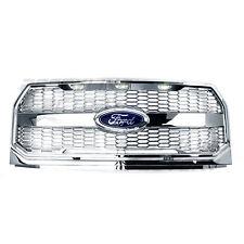 Raptor Convert Chrome Mesh Grille w/Emblem Housing+White LED for 15-17 Ford F150