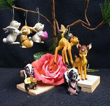 7 Disney Bambi Mini Christmas Tree Ornament LOT Flower, Skunk, Thumprer Rabbit