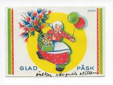 Happy Easter Sweden 1940 Artist signed Ingeborg Klein Heritage Eggs Oforsen