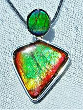 2-Stone, AMMOLITE PENDANT, Solid Sterling Silver, HANDMADE