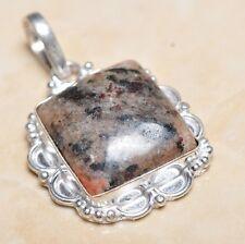 "Handmade Arizona Petrified Wood Jasper 925 Sterling Silver Pendant 1.75"" #P06361"