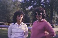 Vintage Photo Slide 1986 Women Posed Pink Sweater Sunglasses Outside