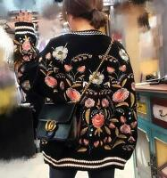 women soft wool flower embroidered sweater BF sweater jumper wool Cardigan