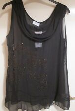 Wallis Black Chiffon Evening Top with Bead Detail Size L