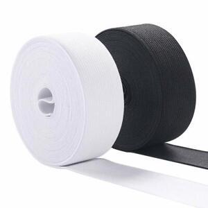 STRETCH FLAT ELASTIC Black &White-¼,½,¾,1,1¼,1½,2 inch- PREMIUM GRADE UK Seller✔