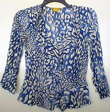 EUC Essential Leigh Crinkle Ruffle Sheer Animal Print Top Size Small