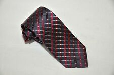 ALFANI Men's 100% Silk Satin Tie Multi Color stripes over dark Gray