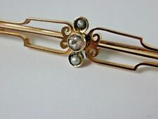 Victorian 9 carat gold natural seed pearl and diamond paste Victorian brooch