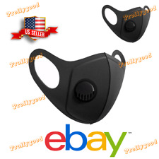 2 Black Face Mask with Air Filter Breathing Valve Reusable