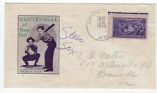 Baseball #855 1939 FDC #52A Autographed Steve Sax w/ U/O City Cancel