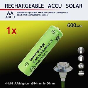 AA Solar Akku 600mAh 1,2V NiMH HR6 Mignon Ersatz für Solarleuchte Solarlampe
