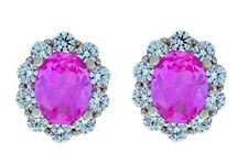 8 Ct Pink Sapphire & White Topaz Oval Stud Earrings White Gold Silver