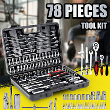 "Tool Kit 78 PCS Socket Hand Set 1/2"" & 1/4"" Ratchet Spanner Wrench Metric Driver"