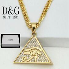 "DG Men 24"" Gold Stainless-Steel,CZ Pyramid Egyptian Eye Pendant,Chain.Unisex*Box"
