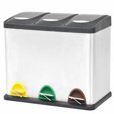 vidaXL Pedaalemmer voor Recycling 3x8 L Roestvrij Staal Afvalbak Vuilnisbak