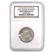 USA Mint Error Broad Struck Nickel with Obverse Brockage 1964 NGC MS64