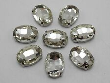 20 Silver Clear Crystal Glass Oval Rose Montees 10X14mm Sew on Rhinestones Beads