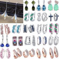 925Silver Plated Earrings Rhinestone Huggie Dangle Ear Studs Party Women Jewelry