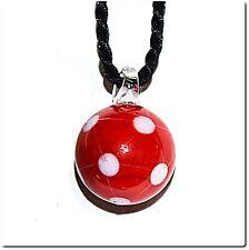 Pendentif ballon de foot rouge bijou fantaisie verre style murano lampwork