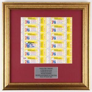 """Julius """"Dr. J"""" Erving Signed Uncut 76ers Ticket Sheet 1976 ROOKIE SEASON PSA DNA"""