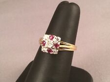 Ladies 18ct Gold, Ruby and  Diamond Ring Size O, 5.0 grams