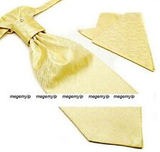 Men Tuxedo Ascot Scrunch Ruche Gold Yellow Cravat PreTie Tie + Handkerchief Set