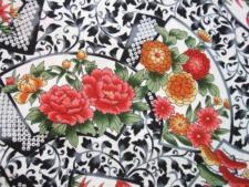 "Korakuen Fans Black White Floral Kona Bay Asian Fabric 26"" Remnant"