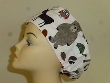 Womens Mens SURGICAL SCRUB HAT NURSE DOCTOR COOK VET CHEMO Elastic FOREST ANIMAL