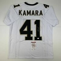 Autographed/Signed ALVIN KAMARA New Orleans White Football Jersey JSA COA Auto
