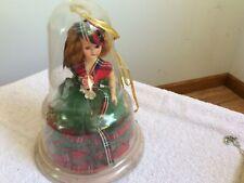 8� Vintage Doll Plastic Usa Dress Toy Bell Dome Case Scottish Girl Sleepy /A1