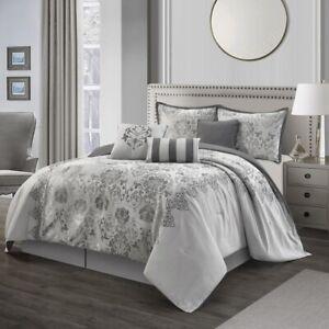 Elegant Grey Silver Damask Motif 7 pcs Comforter Cal King Queen set