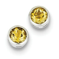 925 Sterling Silver Genuine Bezel Polished Post Citrine Circle Stud Earrings